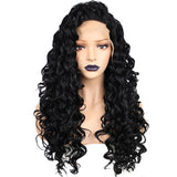 High Temperature Long Kinky Curly Black Synthetic Lace Front Wig For Women