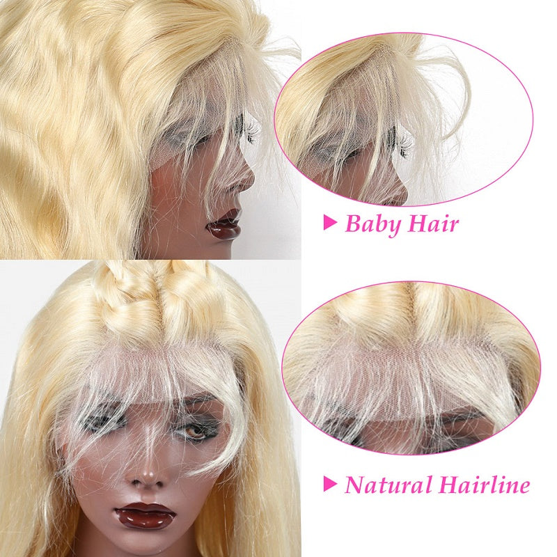 613 Blonde Straight Lace Front Human Hair Wig 150 Density With Baby