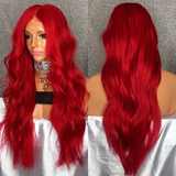 Long Red Wavy Wig Synthetic Lace Front Wigs With Baby Hair 180% Density