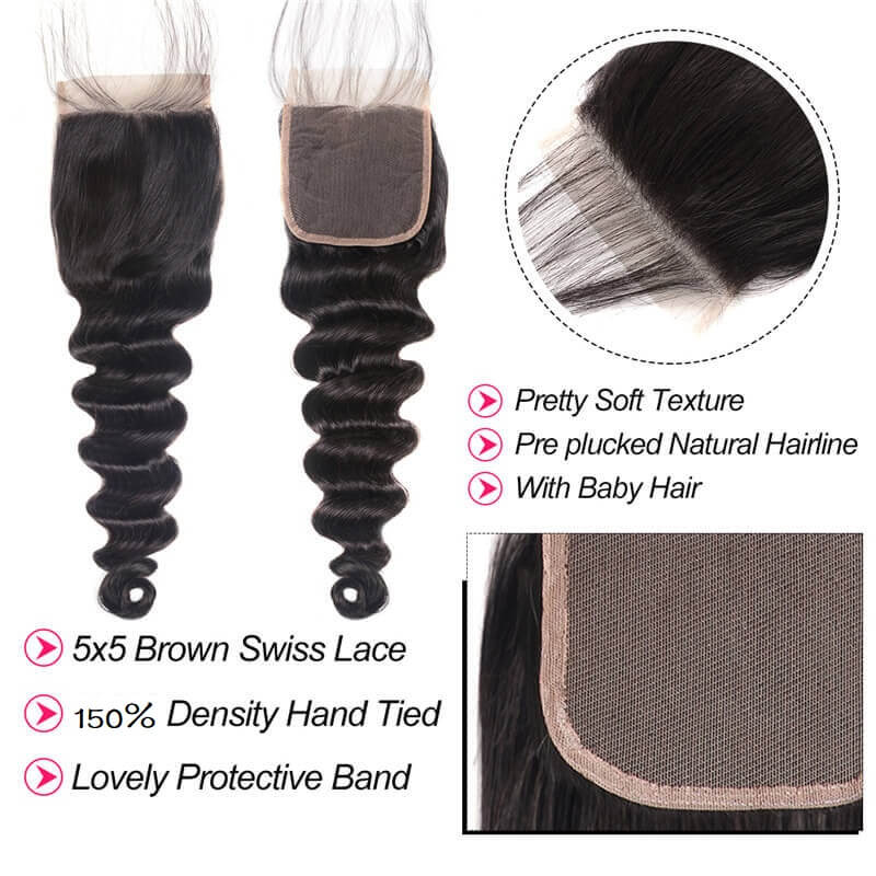 [Abyhair 10A] Loose Deep Wave 5x5 Lace Closure Human Hair Swiss Lace Closure Pre Plucked With Baby Hair
