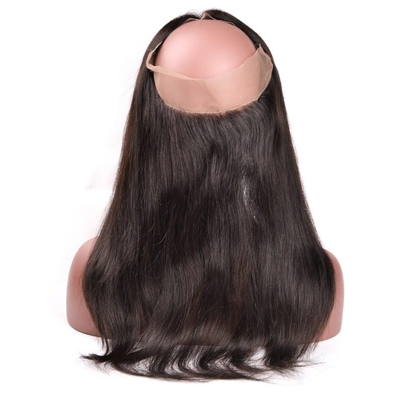 9A Virgin Straight 360 Lace Frontal Closure Bleached Knots 130% Density