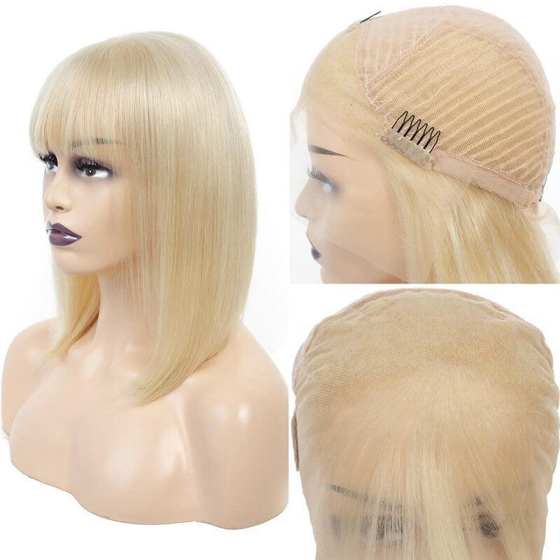 Short Bob 613 Blonde Straight 13x4 Lace Frontal Human Hair Wigs With Bangs