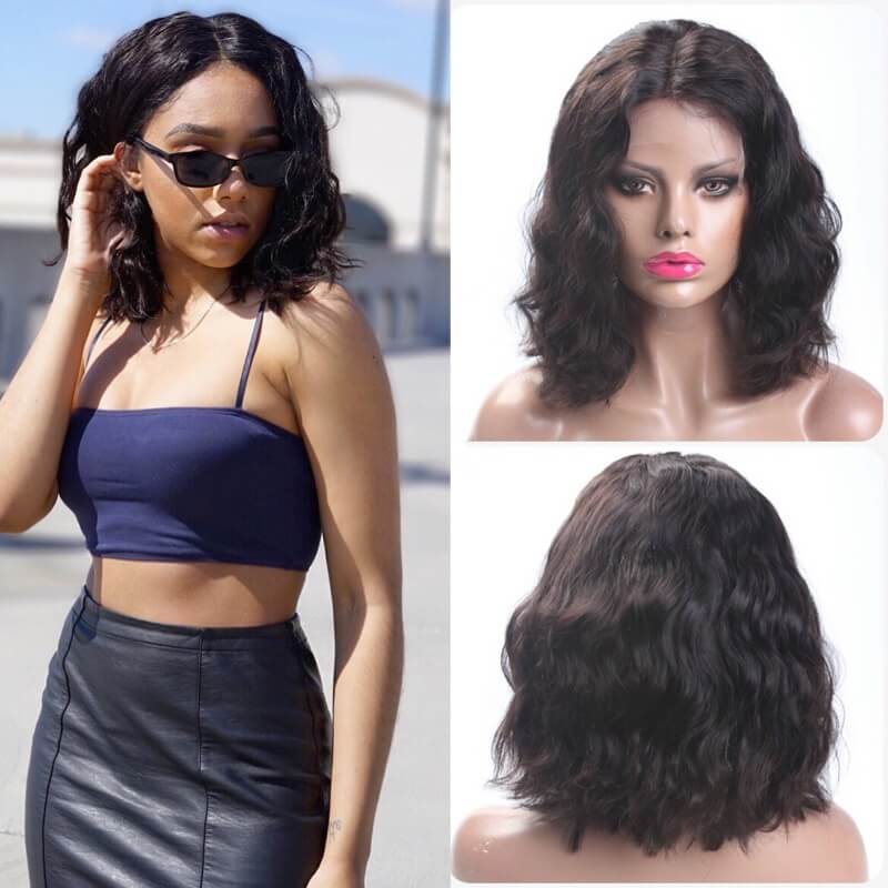 13x4 Short Bob Wavy Lace Front Human Hair Wig Pre Plucked With Baby Hair For Women