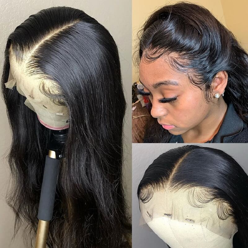 [Custom Unit] 26 28 30 inch Long Silky Straight Brazilian Human Hair Lace Front Wigs