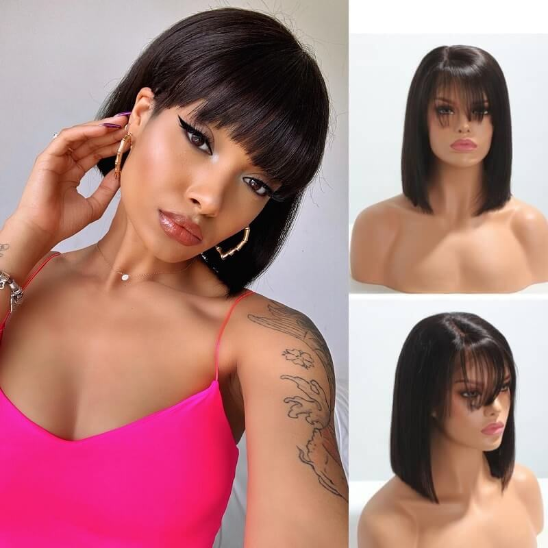 Short Bob Straight 13x6 Deep Part Lace Front Human Hair Wigs with Bangs