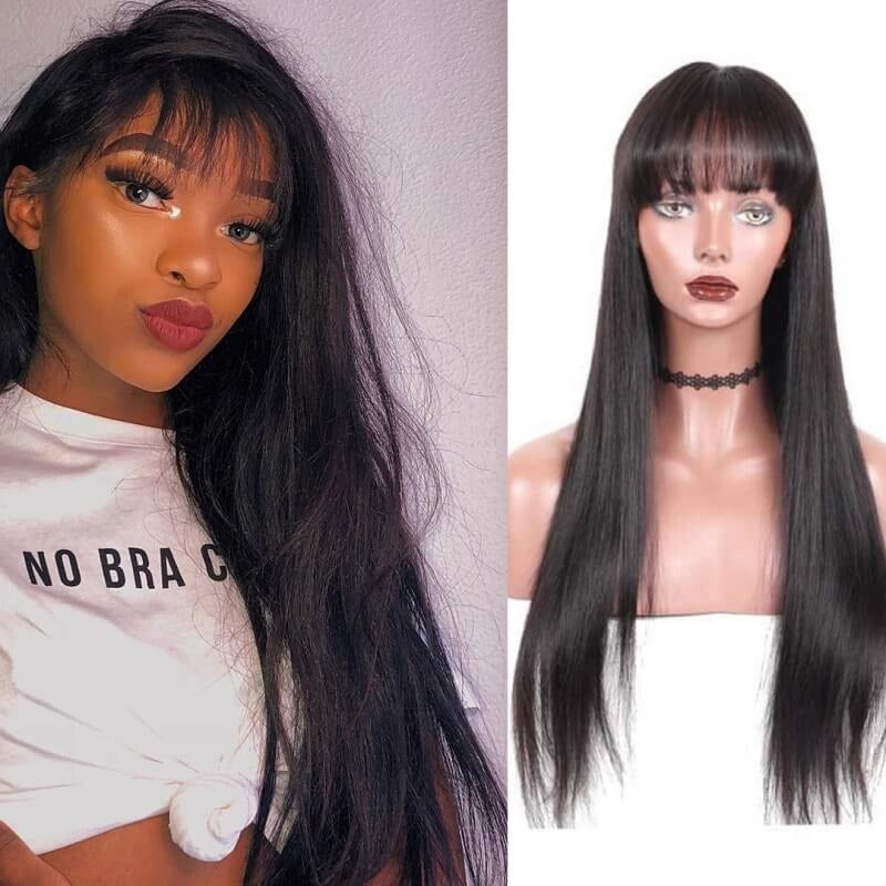 360 Lace Frontal Wig With Bangs Silky Straight Pre Plucked Human Hair Wigs