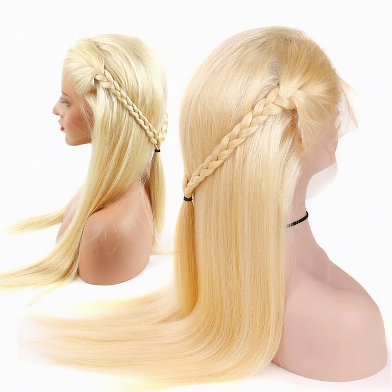 613 Blonde Full Lace Wig Brazilian Straight Human Hair Pre-plucked with Baby Hair