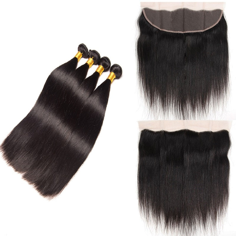 [Abyhair 9A] Straight Hair 13x 4 Lace Frontal Closure With 4 Bundles Brazilian Human Hair