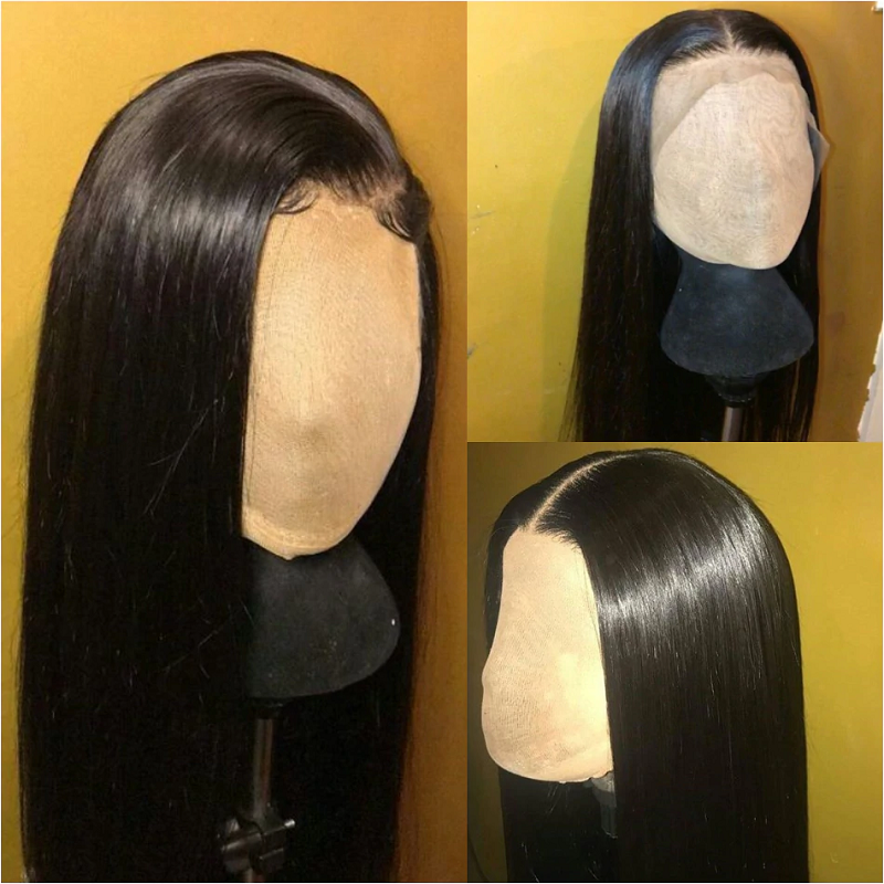 250% Density Straight 13x4 Lace Front Human Hair Wigs Pre plucked With Baby Hair For Women