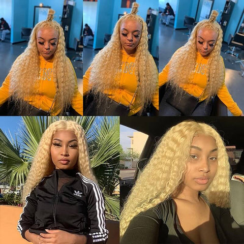 Transparent 613 Honey Blonde Deep Wave Lace Front Human Hair Wigs Bleached Knots Pre-plucked with Baby Hair