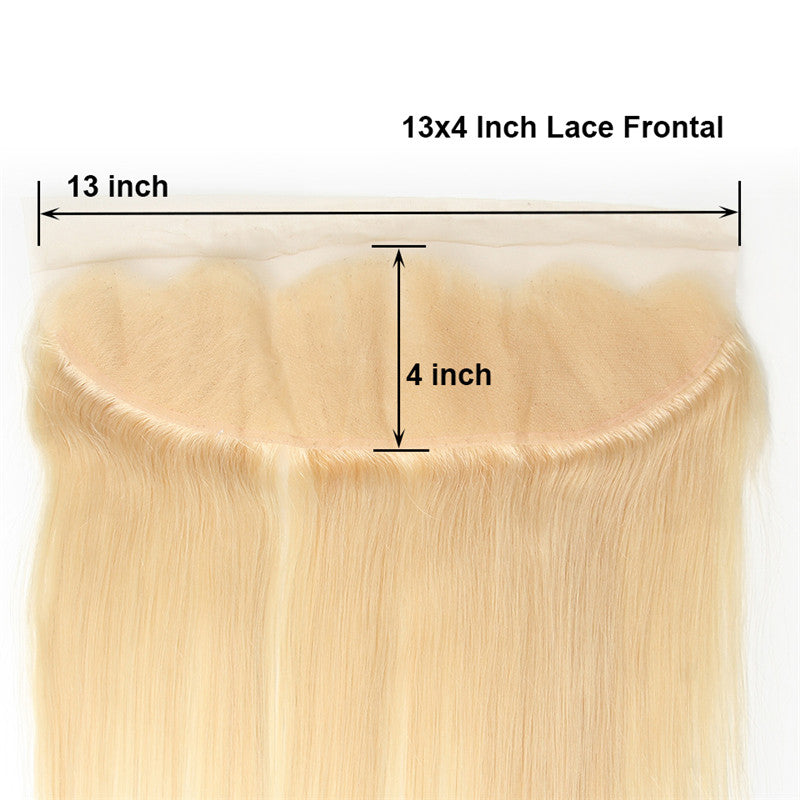 "10A Virgin 613 Blonde Brazilian Straight 3 Bundles With Lace Frontal 13""x4"" Lace Front"
