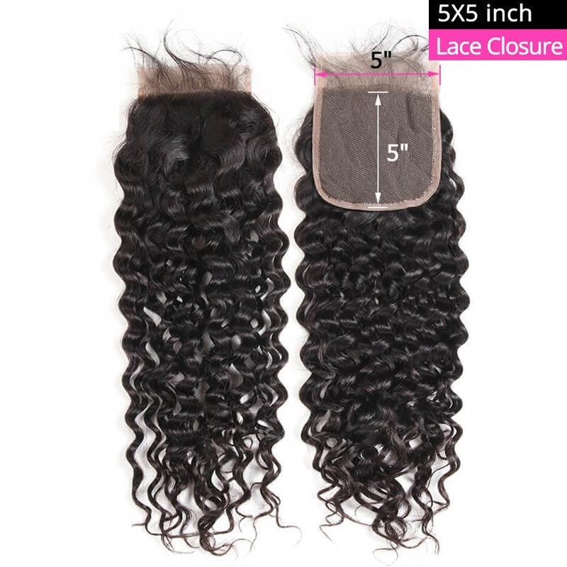 [Abyhair 10A] Natural Wave 5x5 Lace Closure Human Hair Swiss Lace Closure Pre Plucked With Baby Hair