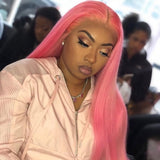 [Custom Unit] Light Pink Straight Human Hair Glueless Full Lace Wigs With Baby Hair