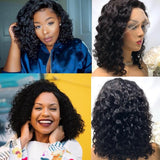 Short Bob Water Wave 13x4 Lace Front Human Hair Wig Pre Plucked With Baby Hair For Women