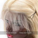 613 Blonde Straight Middle Part Short Bob Lace Front Human Hair Wigs