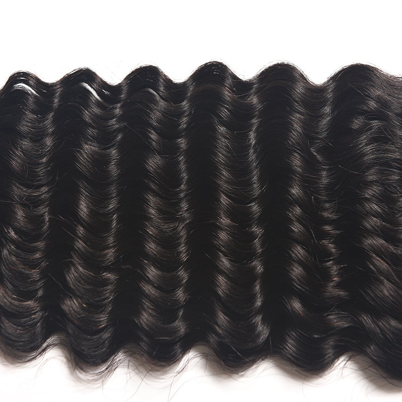 [Abyhair 10A] Malaysian Human Hair Deep Wave 3 Bundles With 4x4 Lace Closure Free Part