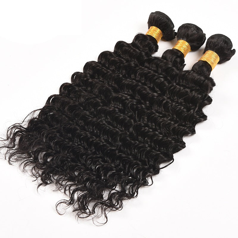 [Abyhair 10A] Peruvian Human Hair Deep Wave 3 Bundles With 4x4 Lace Closure Free Part