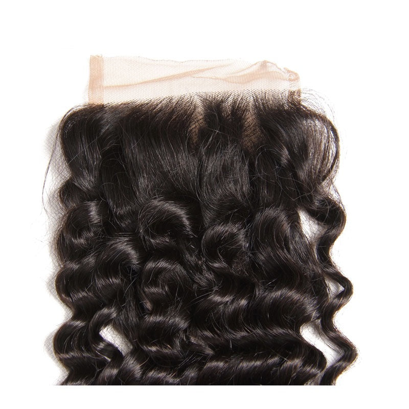 [Abyhair 9A] Deep Wave Hair 4 Bundles With 4x4 Lace Closure Peruvian Human Hair