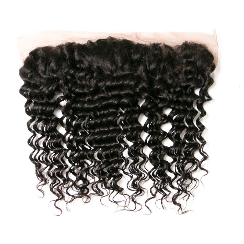 [Abyhair 8A] Deep Wave Weave 3 Bundles With Lace Frontal 13x4 Closure Brazilian Remy Hair