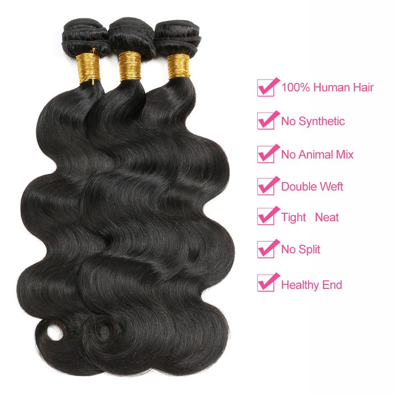 [Abyhair 9A] Body Wave 3 Bundles With 4x4 Lace Closure Brazilian Human Hair
