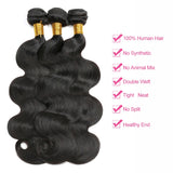 [Abyhair 10A] Indian Body Wave 3 Bundles With 360 lace Frontal Closure Virgin Human Hair