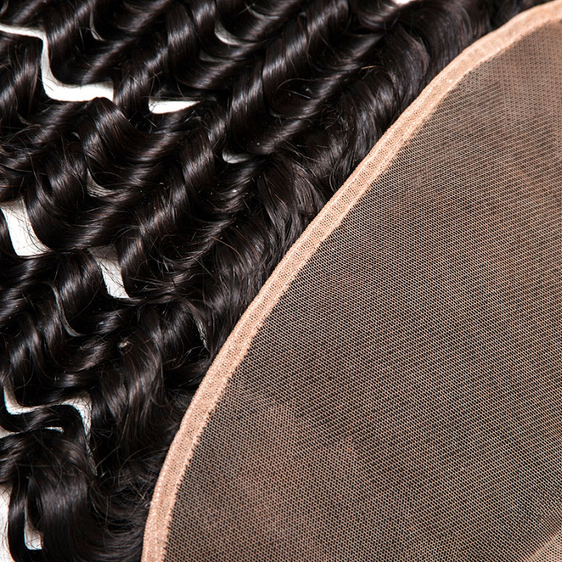 [Abyhair 8A] Deep Wave 4 Bundles With Lace Frontal 13x4 Closure Malaysian Remy Hair
