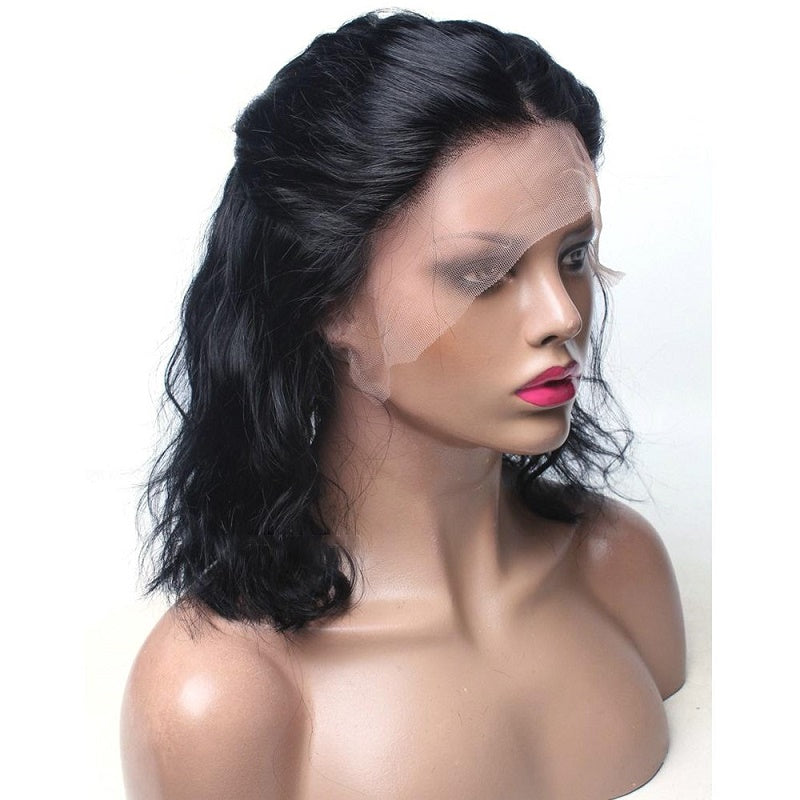 Body Wave 13x6 Short Bob Lace Front Human Hair Wig Pre Plucked With Baby Hair For Women