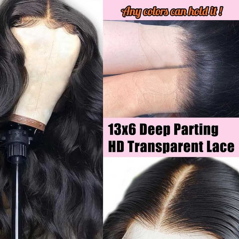 Body Wave Pre-Made Fake Scalp Wig 13x6 Deep Part Lace Front Human Hair Wigs