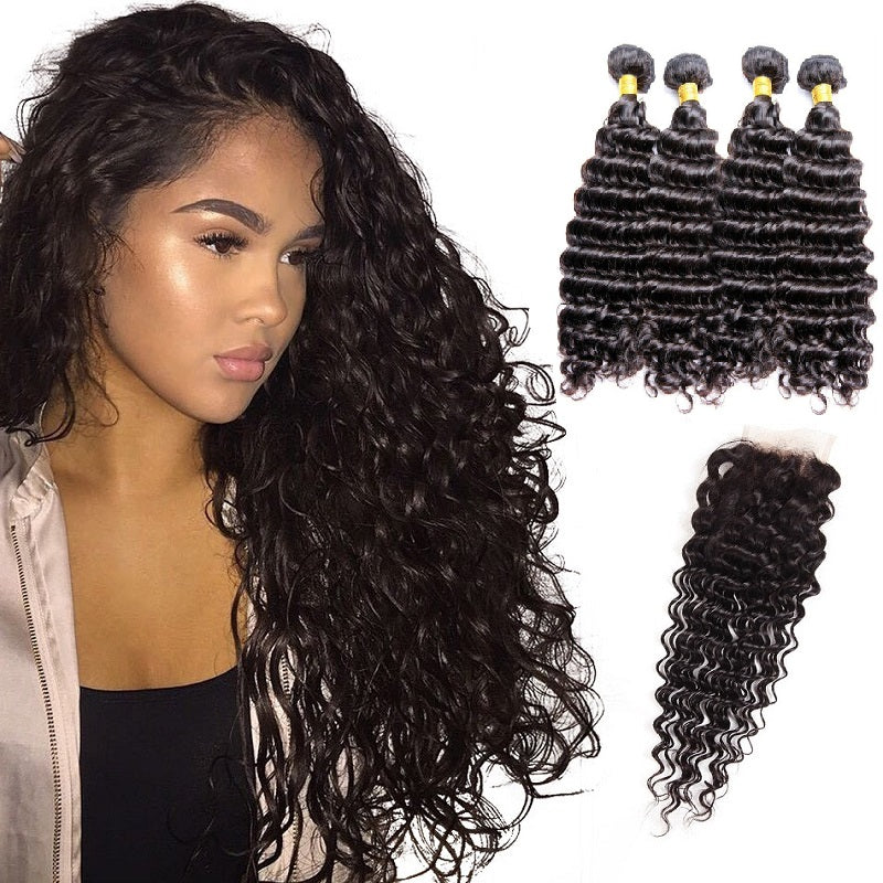 [Abyhair 9A] Deep Wave Hair 4 Bundles With 4x4 Lace Closure Brazilian Human Hair