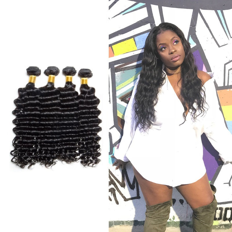 9a Indian Deep Wave 4 Bundles Virgin Hair Weave 100 Human Bundles