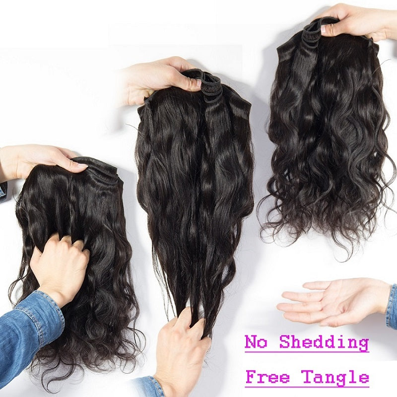 [Abyhair 10A] Peruvian Human Hair Body Wave 4 Bundles With 4x4 Lace Closure Free Part