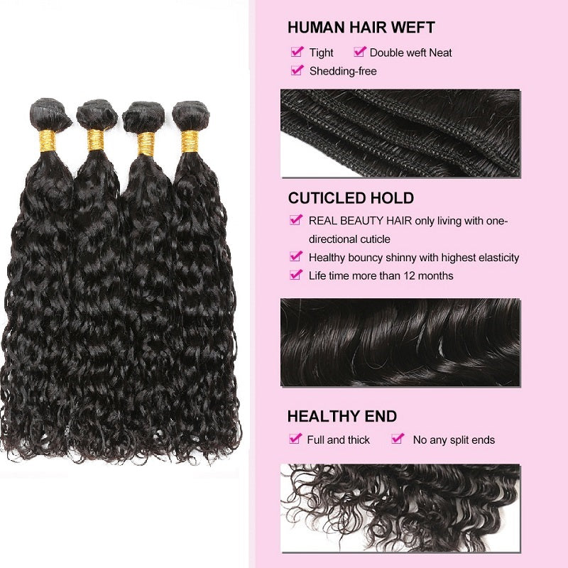 [Abyhair 9A] Deep Wave Hair 4 Bundles With 4x4 Lace Closure Indian Human Hair