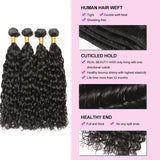 [Abyhair 10A] Malaysian Human Hair Deep Wave 4 Bundles With 4x4 Lace Closure Free Part
