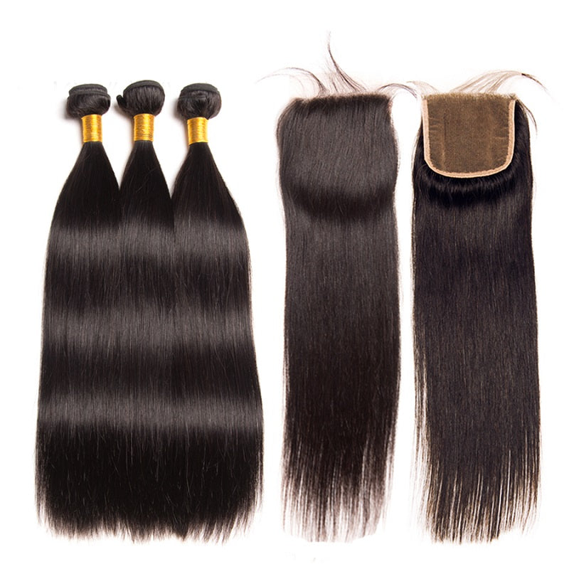 8a Peruvian Remy Hair Straight 3 Bundles With 4x4 Lace Closure Abyhair
