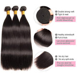 [Abyhair 9A] 360 lace Frontal Closure With 3 Bundles Brazilian Straight Hair Weave