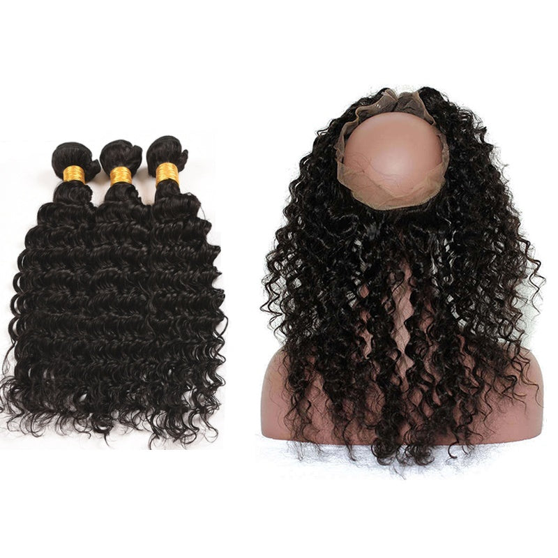 [Abyhair 9A] 360 lace Frontal Closure With 3 Bundles Brazilian Deep Wave Hair Weave