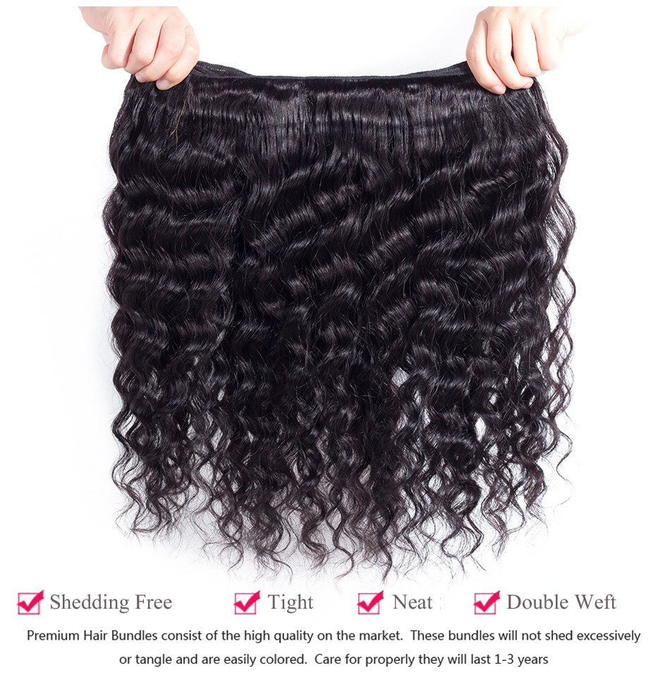 [Abyhair 8A] Deep Wave 4 Bundles With Lace Frontal 13x4 Closure Brazilian Remy Hair