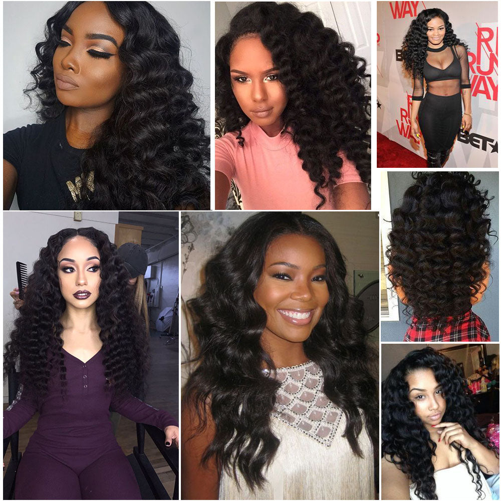[Abyhair 9A] Deep Wave 13x 4 Lace Frontal Closure With 3 Bundles Brazilian Human Hair