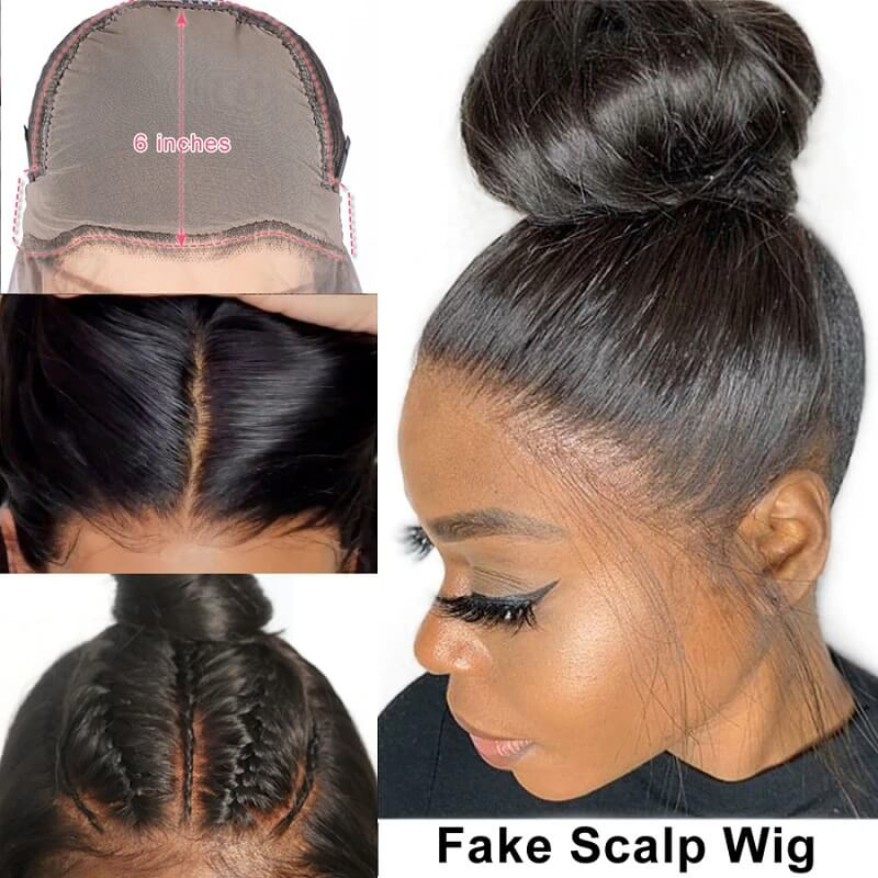 Straight Pre-Made Fake Scalp Wig 13x6 Deep Part Lace Front Human Hair Wigs