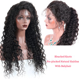 Deep Wave Full Lace Human Hair Wigs Bleached Knots Pre Plucked Hairline