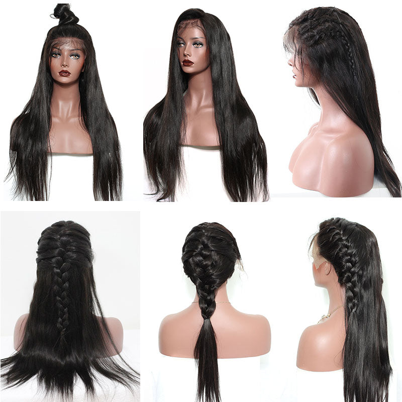 Straight Glueless Full Lace Human Hair Wigs Bleached Knots Pre Plucked Hairline