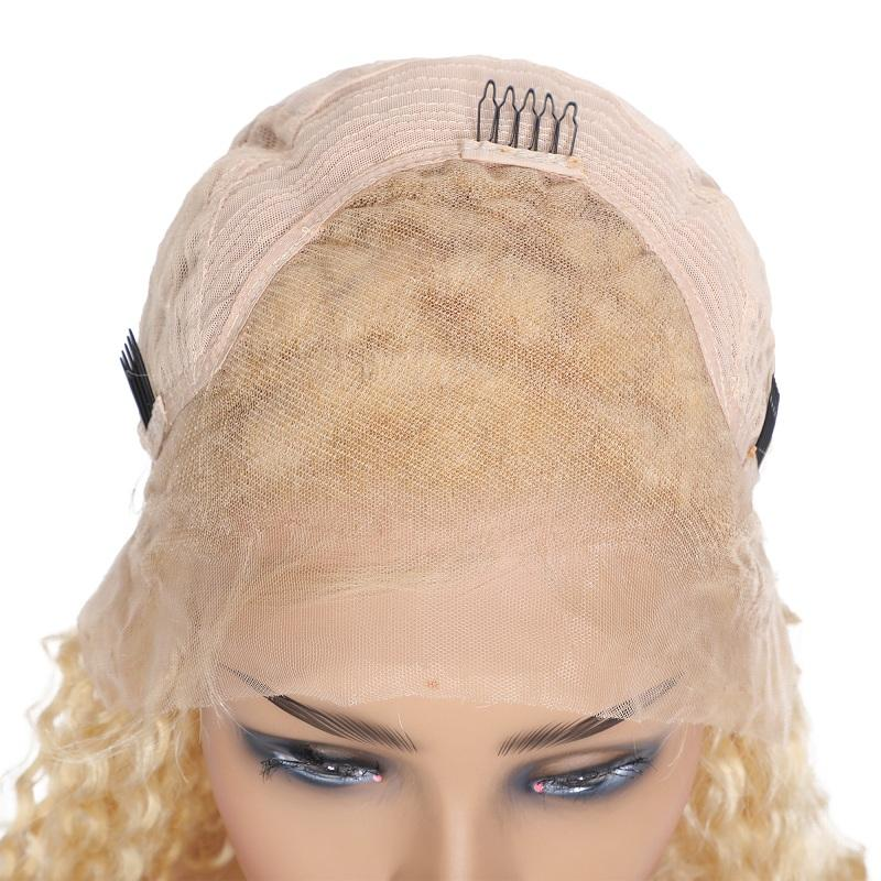 Curly 613 Blonde 13x6 Deep Part Lace Front Human Hair Wigs Pre-Plucked With Baby Hair