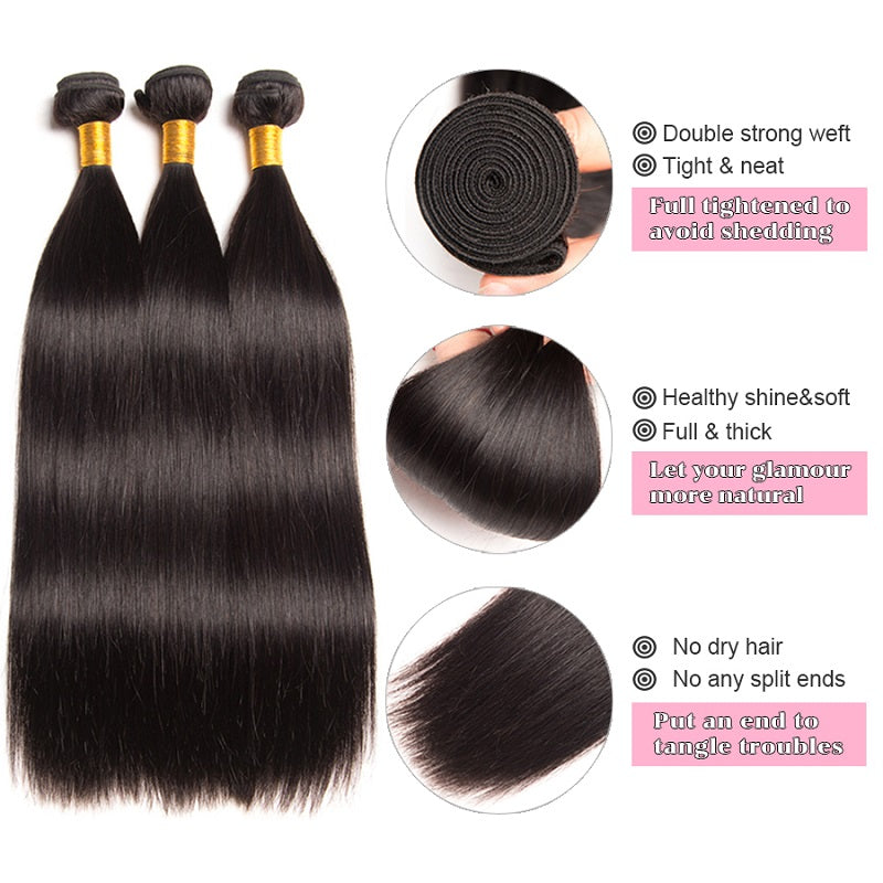[Abyhair 10A] Indian Human Straight Hair 3 Bundles With 4x4 Lace Closure Free Part