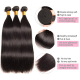 [Abyhair 10A] Peruvian Straight Hair 3 Bundles With 13x 4 Lace Frontal Closure With Baby Hair