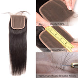 [Abyhair 10A] Indian Human Straight Hair 4 Bundles With 4x4 Lace Closure Free Part