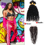 [Abyhair 9A] Deep Wave 3 Bundles With 4x4 Lace Closure Peruvian Human Hair