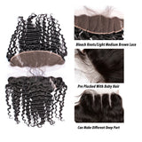 [Abyhair 9A] Deep Wave 13x 4 Lace Frontal Closure With 3 Bundles Indian Human Hair