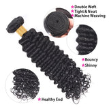 [Abyhair 10A] Indian Human Hair Deep Wave 3 Bundles With 4x4 Lace Closure Free Part
