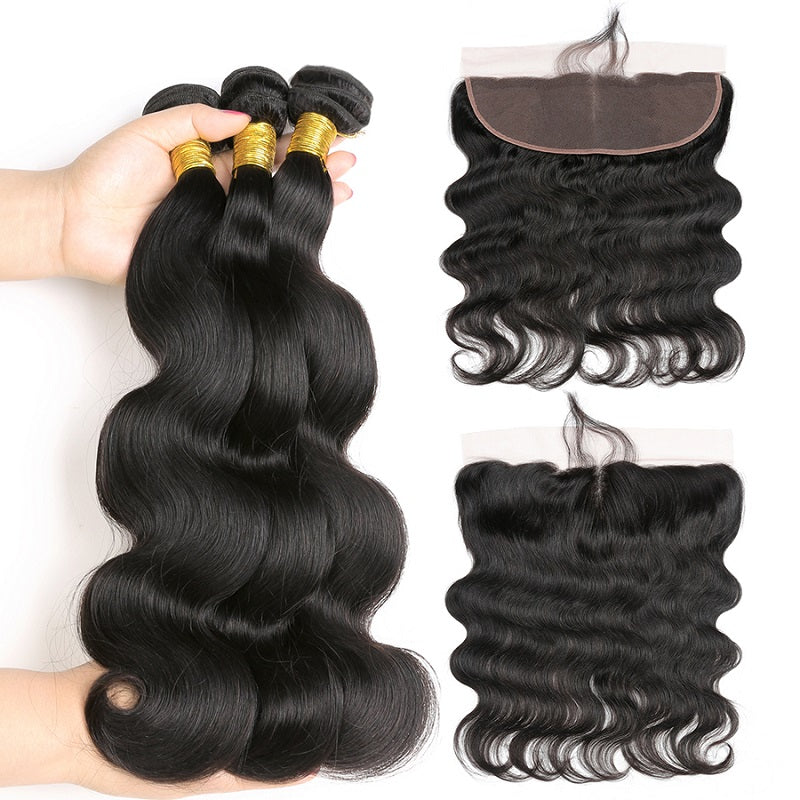 [Abyhair 8A] Body Wave Weave 3 Bundles With Lace Frontal 13x4 Closure Peruvian Remy Hair