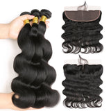 [Abyhair 10A] Brazilian Body Wave 3 Bundles With 13x 4 Lace Frontal Closure With Baby Hair